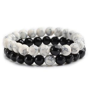 Jewelry - Couples' Black & White Combo Distance Bracelets